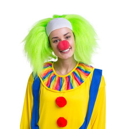 Peruk Clown med grönt hår
