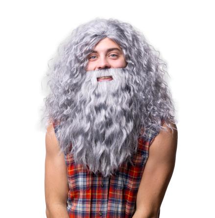 Peruk Hagrid m skägg grå