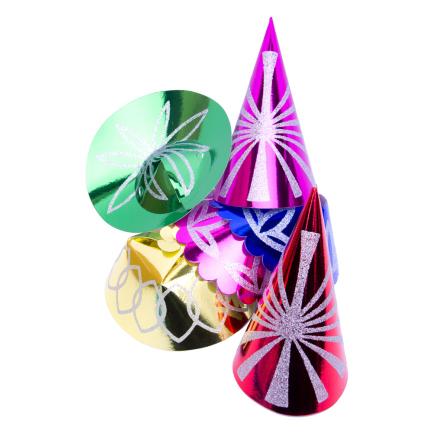 Partyhattar med glitter sorterade
