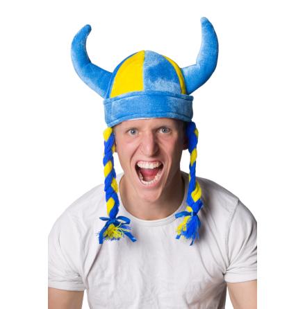 Vikingahjälm blå/gul flätor