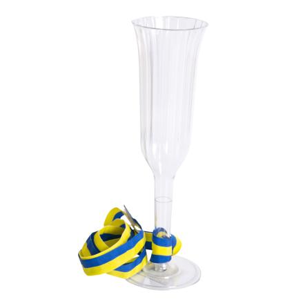 Champagneglas med blå gult band