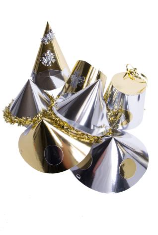 Partyhatt med glitter guld/silver