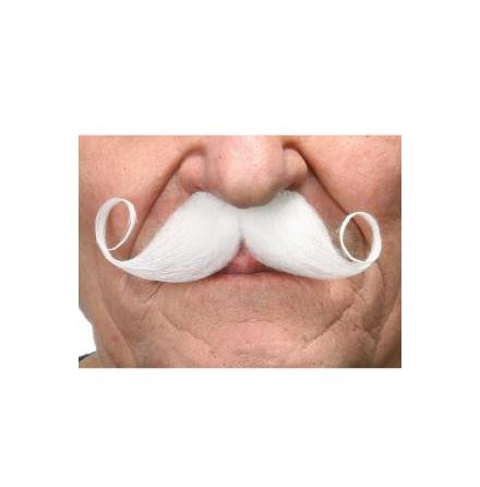 Mustasch Poirot vit