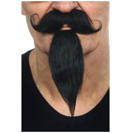 Mustasch m skägg Musketör svart