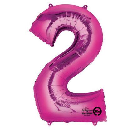 Folieballong siffra, 2 rosa