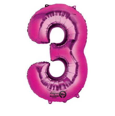 Folieballong siffra, 3 rosa