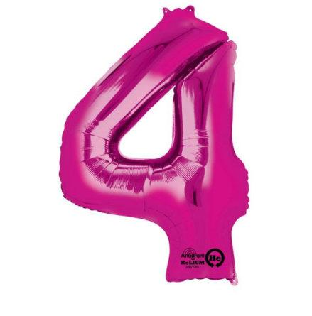 Folieballong siffra, 4 rosa