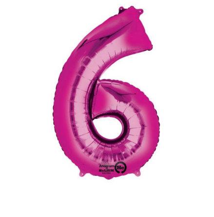 Folieballong siffra, 6 rosa