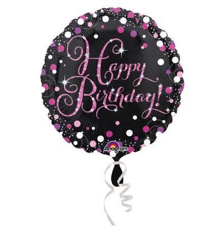 Folieballong, sparkling birthday rosa