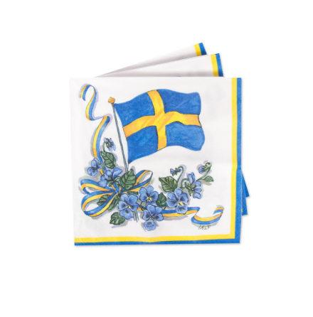 Servetter, Svenska flaggan med krans 20st