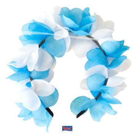Diadem, blommor blå/vit