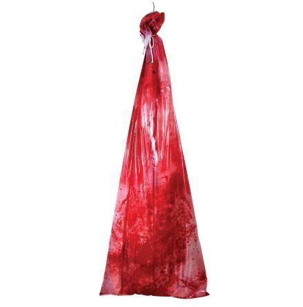 Prop, blodig kropp i sopsäck