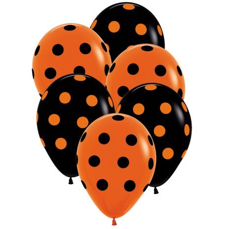 Ballonger, svart/orange prickar 6 st