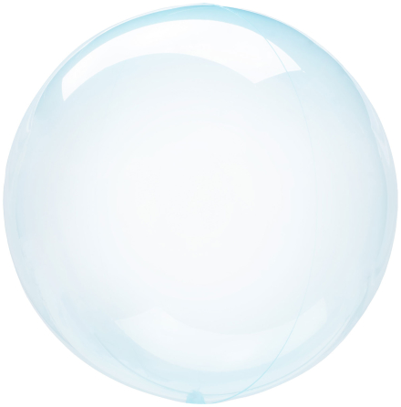 Klotballong, transparent blå 40 cm