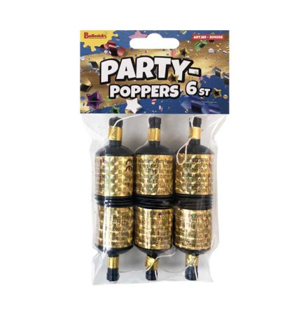 Partypoppers, guld 6 st