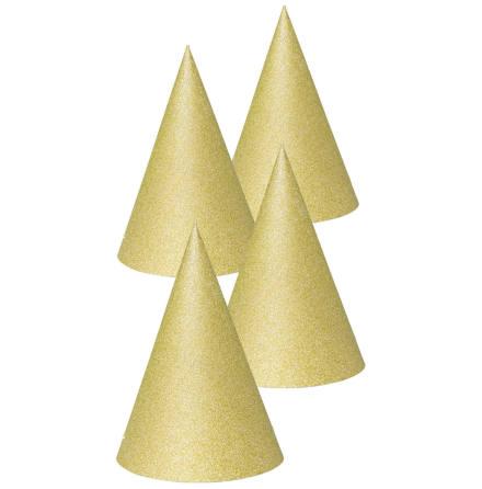 Partyhattar, guld 4 st