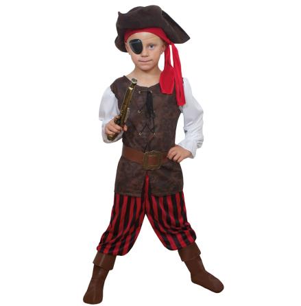 Barndräkt, randig pirat 122/128 cl