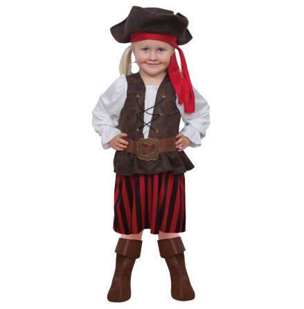 Barndräkt, randig piratklänning 134/140 cl