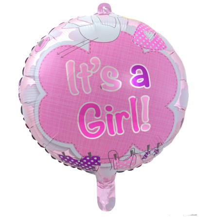 Folieballong, it's a girl 43 cm