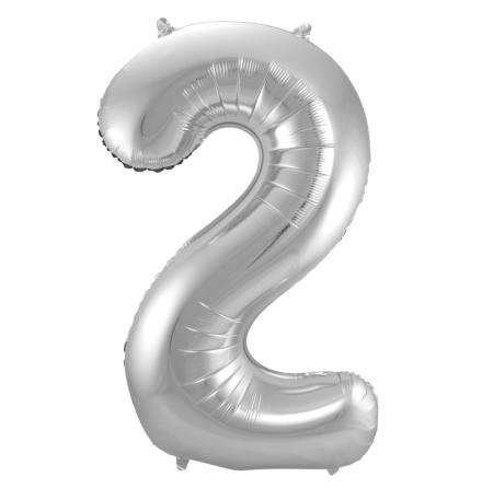 Folieballong, siffra 2 silver 86 cm