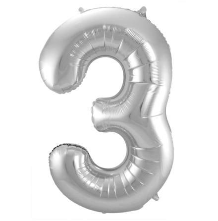 Folieballong, siffra 3 silver 86 cm
