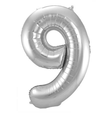 Folieballong, siffra 9 silver 86 cm