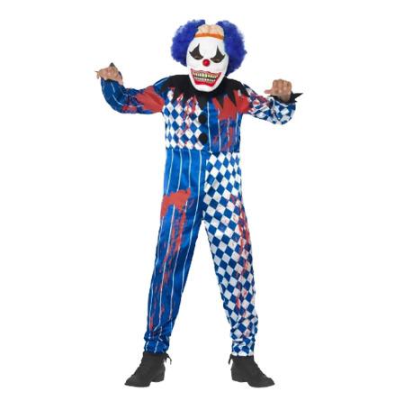 Barndräkt, clown blå/vit 134/140 cl