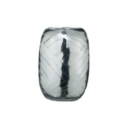 Ballongsnöre, metallic silver 20 m x 5 mm