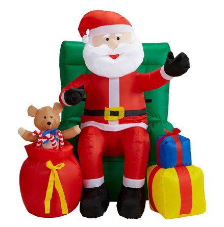Uppblåsbar props, tomte i fotölj med julklappar 122 cm