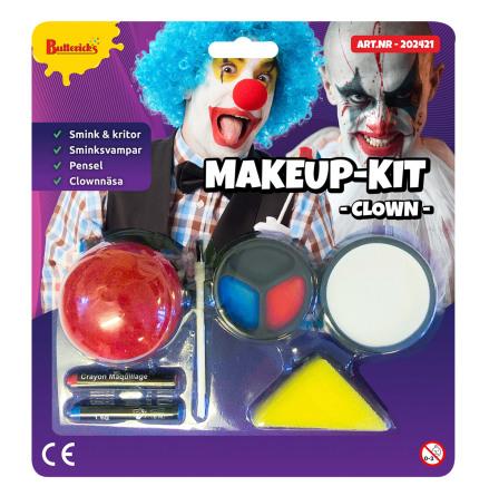 Sminkset, clown röd/vit