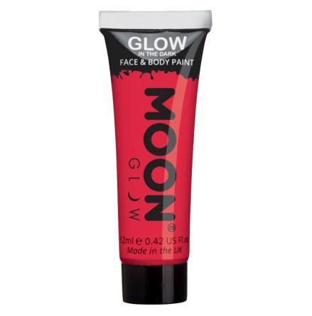Glow in the dark i tub, röd 12 ml