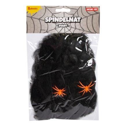 Spindelnät, svart med spindlar