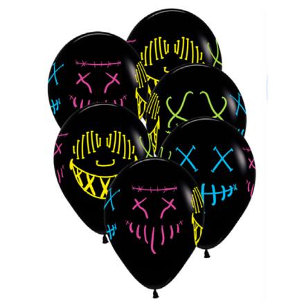 Ballonger, skräck neon 30 cm 6 st