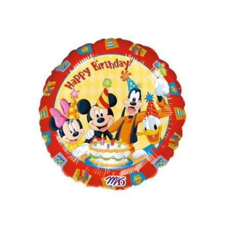 Folieballong, happy birthday Musse Pigg med vänner 45 cm