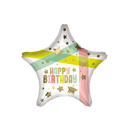 Folieballong, happy birthday stjärna 45 cm