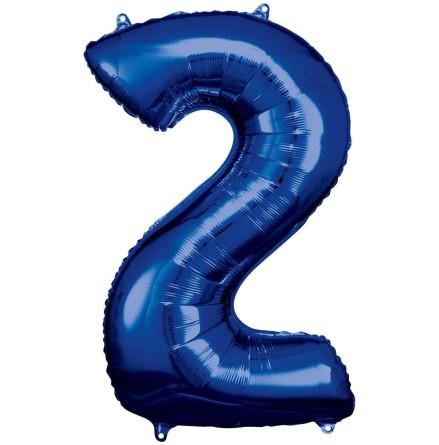 Folieballong siffra, 2 blå 86 cm