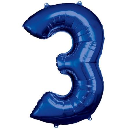 Folieballong siffra, 3 blå 86 cm