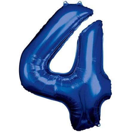 Folieballong siffra, 4 blå 86 cm