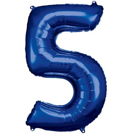 Folieballong siffra, 5 blå 86 cm