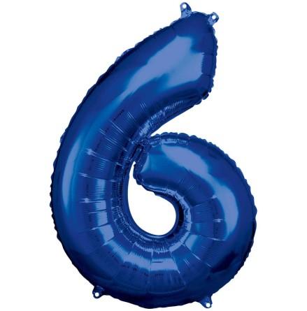 Folieballong siffra, 6 blå 86 cm