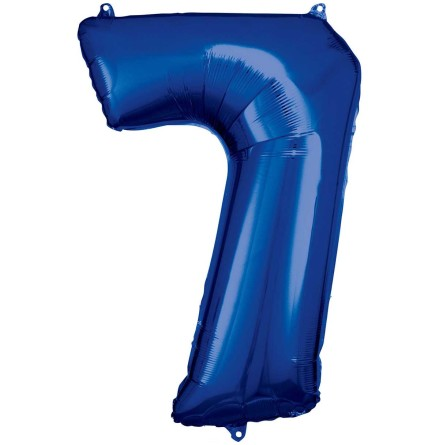 Folieballong siffra, 7 blå 86 cm