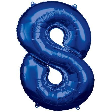 Folieballong siffra, 8 blå 86 cm