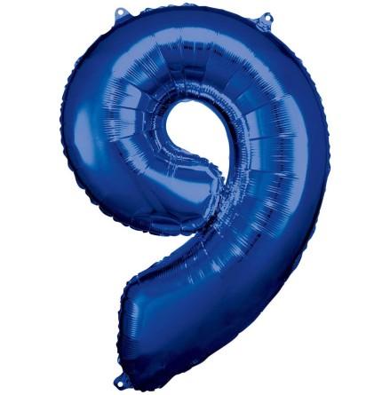 Folieballong siffra, 9 blå 86 cm