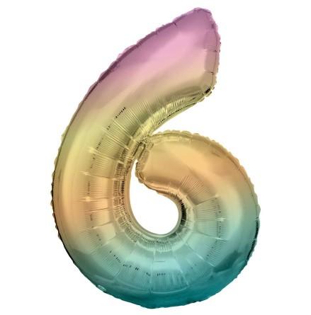 Folieballong siffra, 6 pastell 86 cm