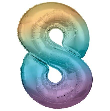 Folieballong siffra, 8 pastell 86 cm