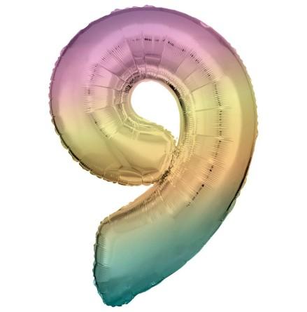 Folieballong siffra, 9 pastell 86 cm