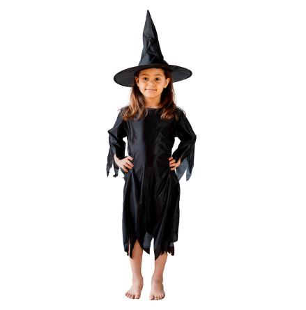 Barndräkt, häxklänning inkl hatt 110/116 cl